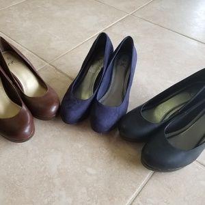 Work wedge heels - lot of three